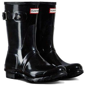 NEW HUNTER MID CALF Black Gloss Rain Boots 8 US